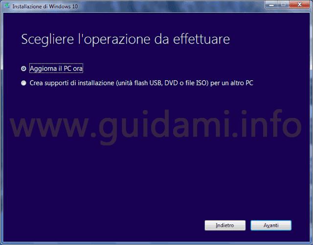 """Opzione """"Aggiorni il PC ora"""" del Media Creation Tool Windows 10"""