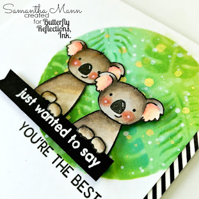 You're the Best Card by Samantha Mann, Avery Elle Stamps, Koalas, Distress Inks, Ink Blending, Cards, Stencil #distressinks #inkblending #cards #averyelle