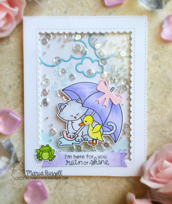 Rain or Shine Shaker Card by Maria Russell | Newton's Rainy Day Stamp set by Newton's Nook Designs #newtonsnook