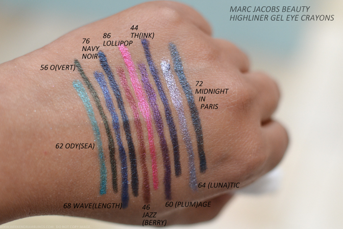 Marc Jacobs Beauty Highliner Gel Eyeliner Crayons Swatches 62Odysea 56Overt 68Wavelength 76Navy Noir 46Jazzberry 86Lollipop 60Plumage 44Think 64Lunatic 72Midnight in Paris