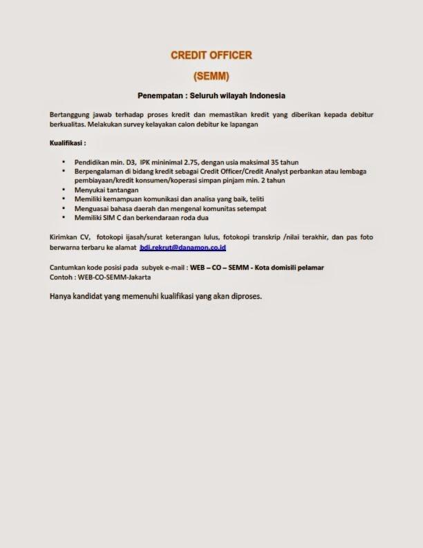 lowongan kerja Bank Credit Officer
