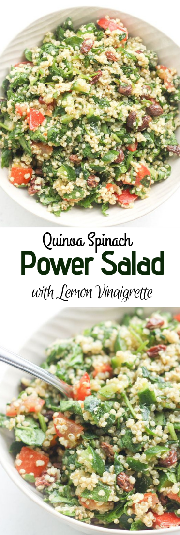 Quinoa Spinach Power Salad with Lemon Vinaigrette #Salad #recipeeasy