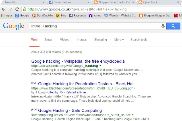 Google Digging and Art Of Googling ~ Cyber Hack