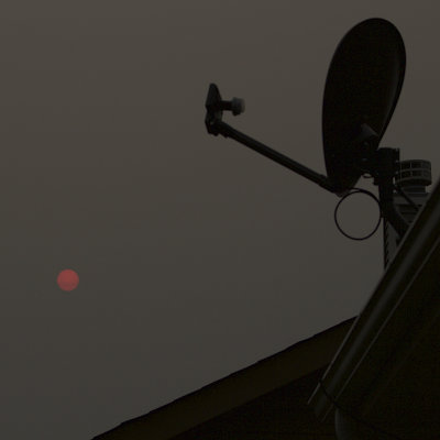 red sun through gray clouds with direct tv dish in foreground