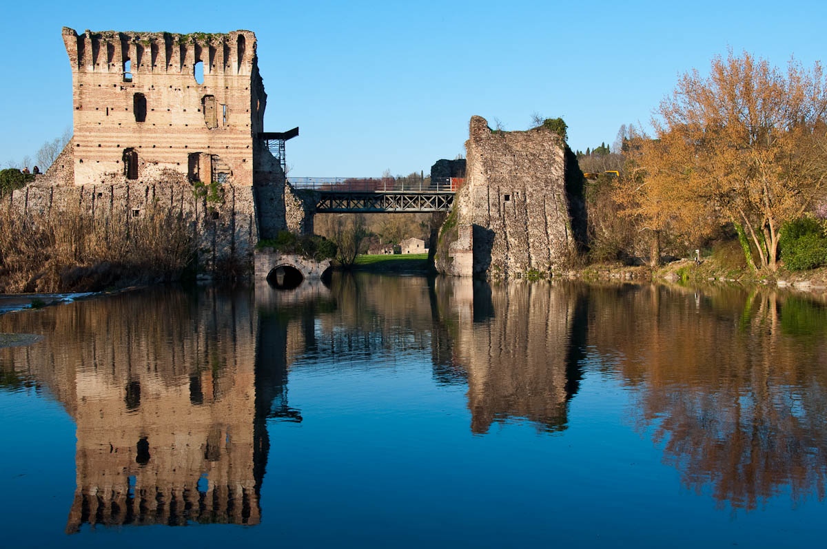 The medieval Scaligeri bridge, Borghetto, Veneto, Italy
