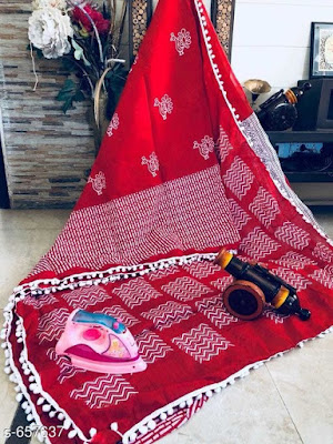 Fashionable Mulmul/pompom Cotton Sarees | COD - cash on delivery available
