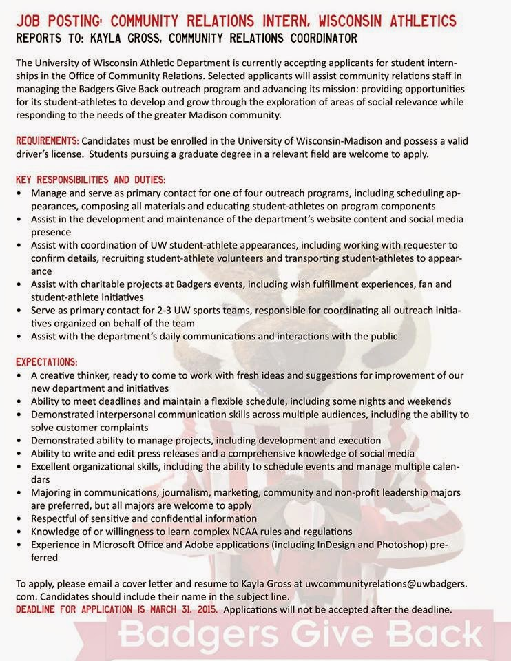 Community outreach job cover letter