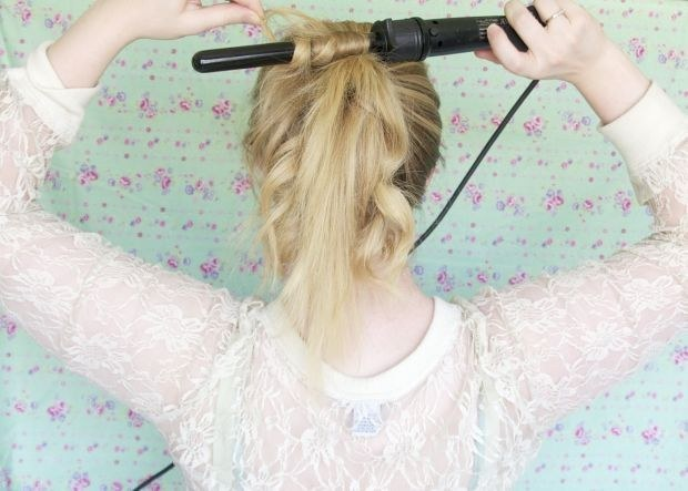 Curl hair while it's in a high ponytail