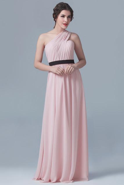 robe de soirée rose longue asymétrique pour mariage