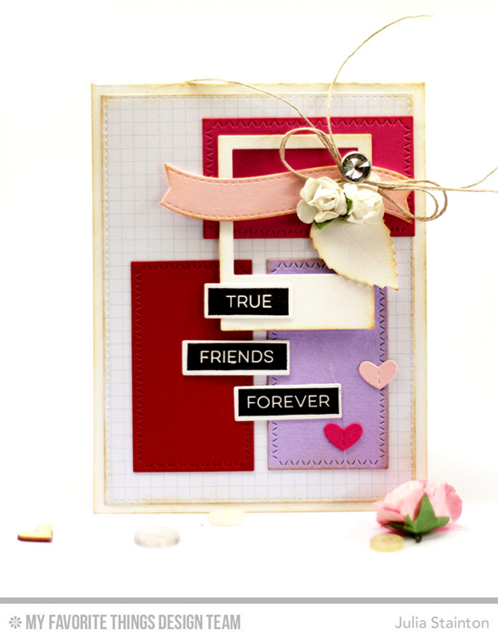Handmade card from Julia Stainton featuring Label Maker Love stamp set, Label Tape, Stitched Heart Grid, Layered Leaves, Precious Polaroids, Zig Zag Stitched Rectangle STAX, and Blueprints 25 Die-namics #mftstamps