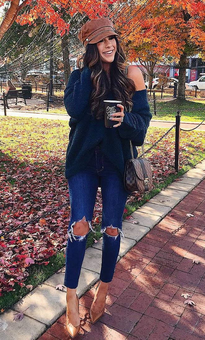 cozy fall outfit / hat + one shoulder sweater + bag + ripped jeans + heels