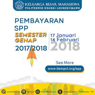 PEMBAYARAN SPP SEMESTER GENAP 2017/2018