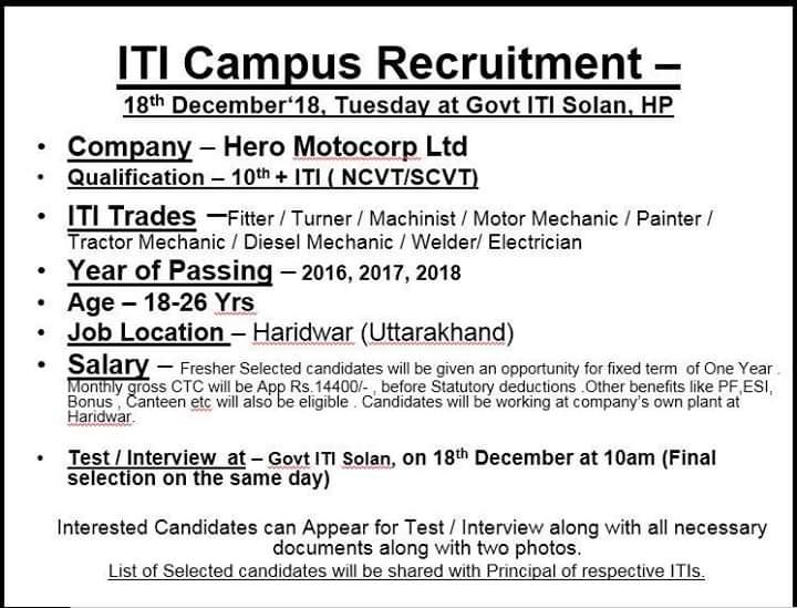 Hero Motocorp Ltd Campus Placement Interview in Govt ITI Solan, Himachal Pardesh