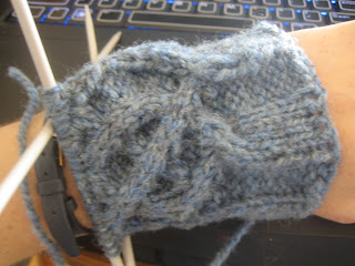 The picture shows a few inches of sweater sleeve, still on the needles.  The sleeve shows a cabled celtic knot pattern, and the centre cable is obviously wrongly crossed.