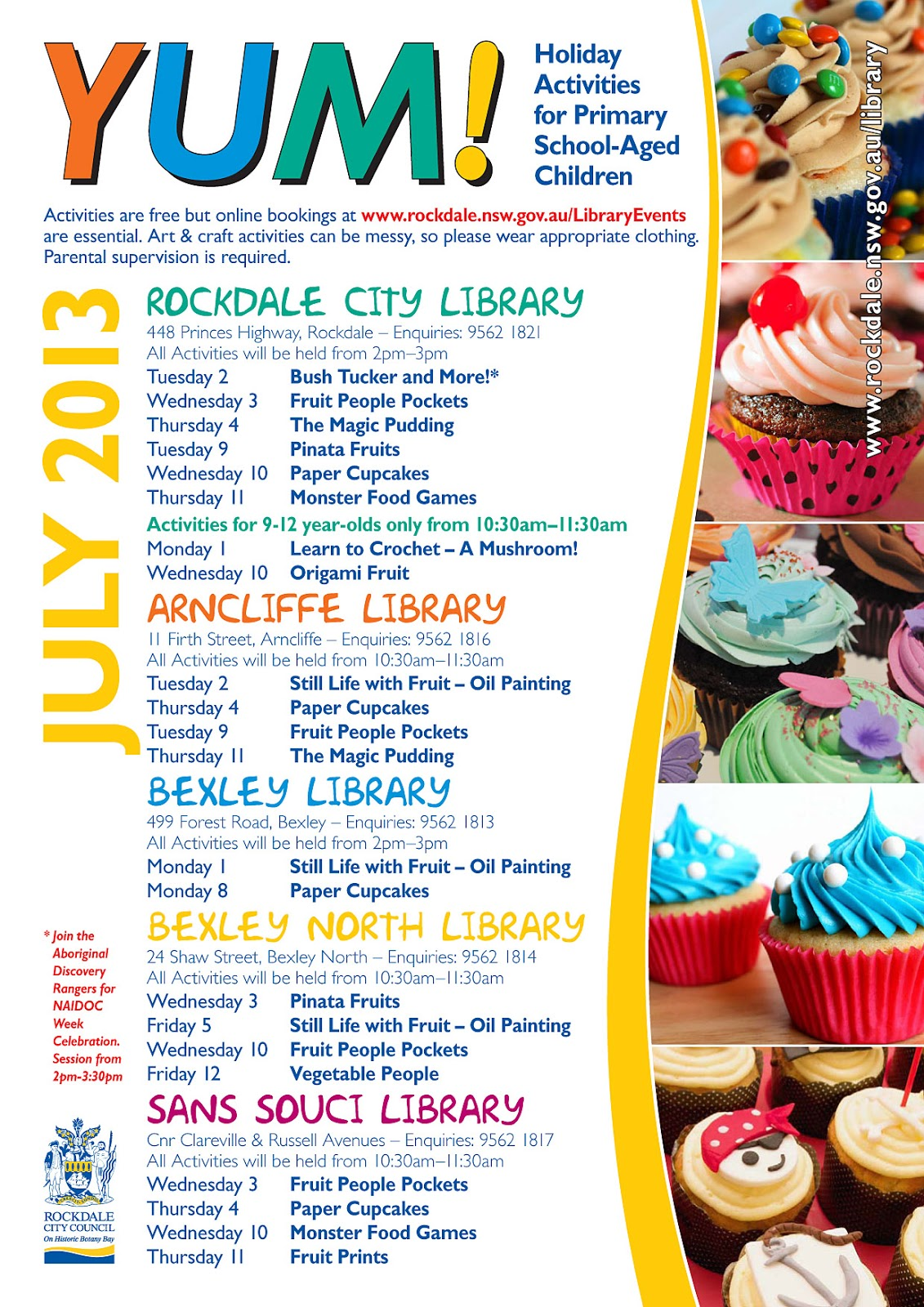 Rockdale Library News July School Holiday Program For Primary School Aged Children