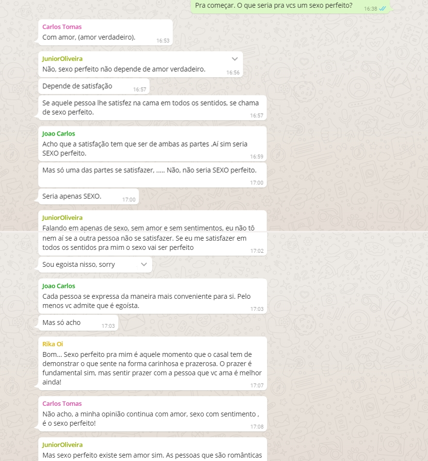 Sexo, muito sexo em discussão no Debate no WhatsApp, participe!