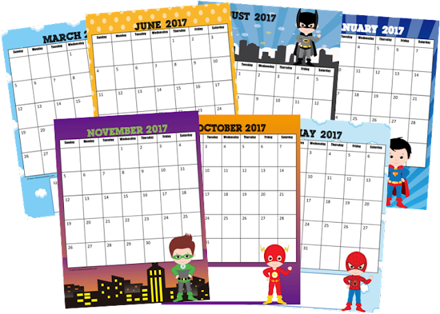 2017 Calendar - this FREE printable super hero calendar is perfect is perfect for preschool, kindergarten, 1st grade