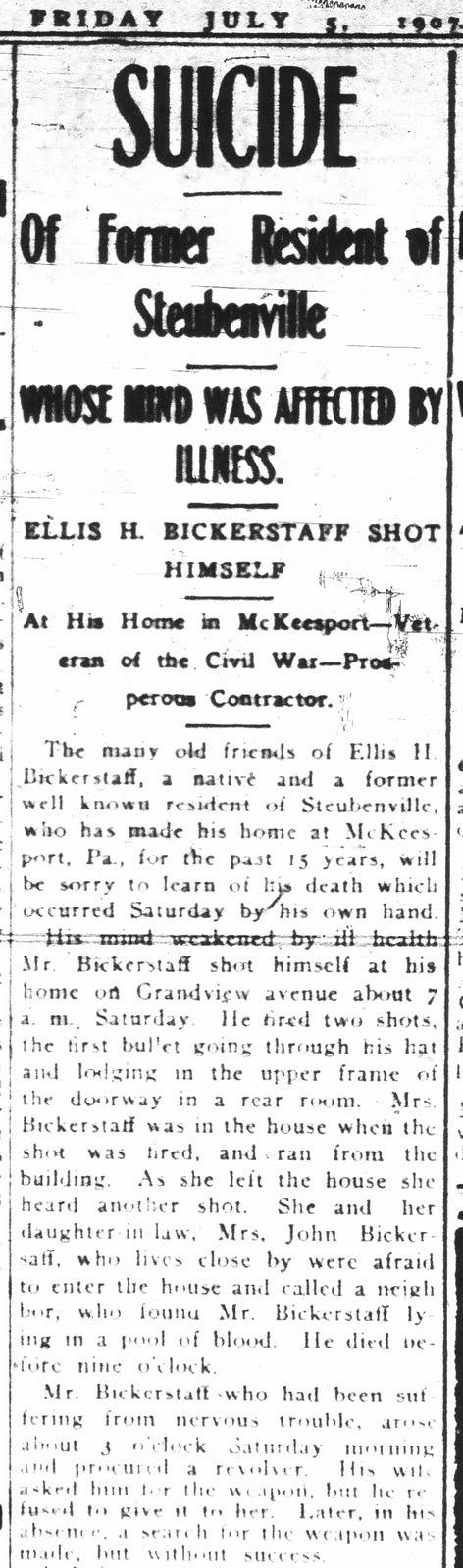 My Ancestors and Me: Ellis Bickerstaff - Life and Death
