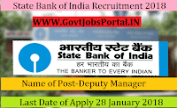 State Bank of India Recruitment 2018– 50 Deputy Manager