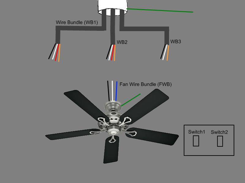 Ceiling Fan With Two Switches On Wiring Recessed Lights To Ceiling Fan
