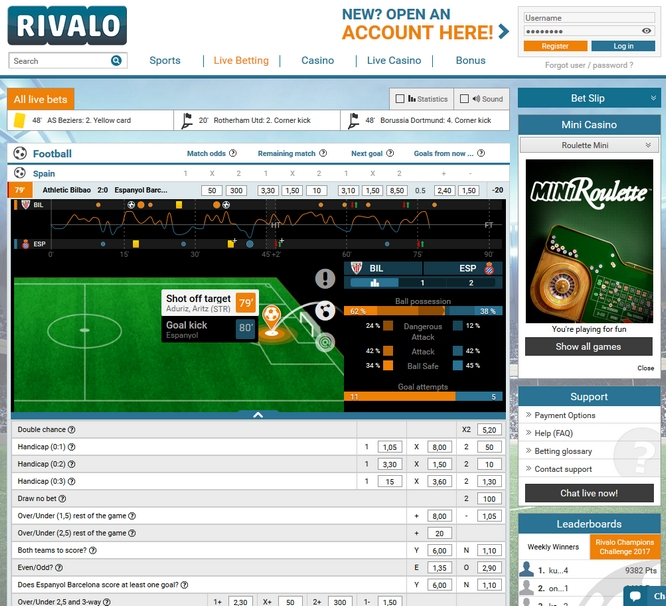 Rivalo Live Betting Screen