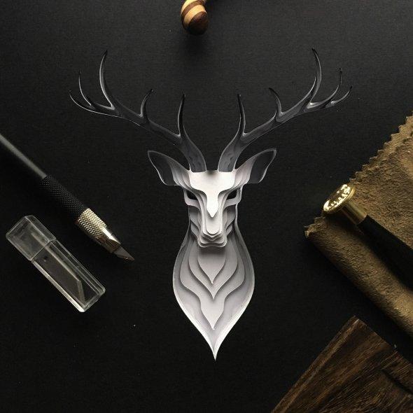 Patrick Cabral behance arte animais papel cortado espécies ameaçadas extinção wwf Cervo