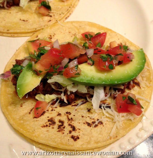 Ground Beef Tacos with Tangelo Adobo Sauce, Pico de Gallo, and Avocado