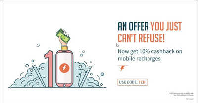 FreeCharge - Get 10% Cashback Upto Rs.50 on your Next Prepaid Recharge (All Users)