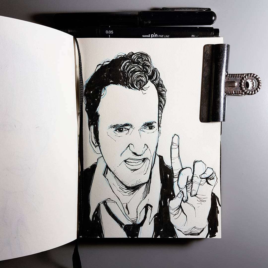 illustration sketchbook doodle Quentin Tarantino director portrait