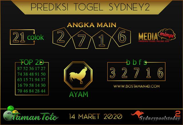 Prediksi Togel SYDNEY 2 TAMAN TOTO 14 MARET 2020