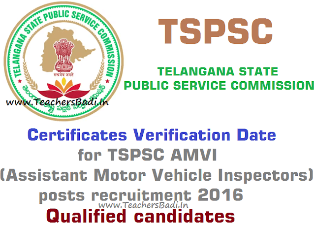 Certificates verification date,TSPSC,AMVI posts recruitment