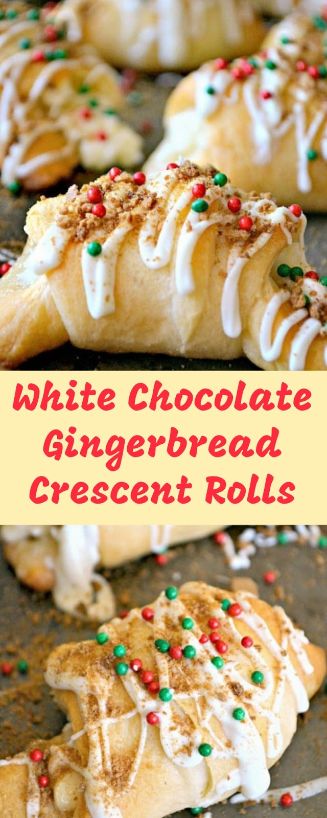 White Chocolate Gingerbread Crescent Rolls