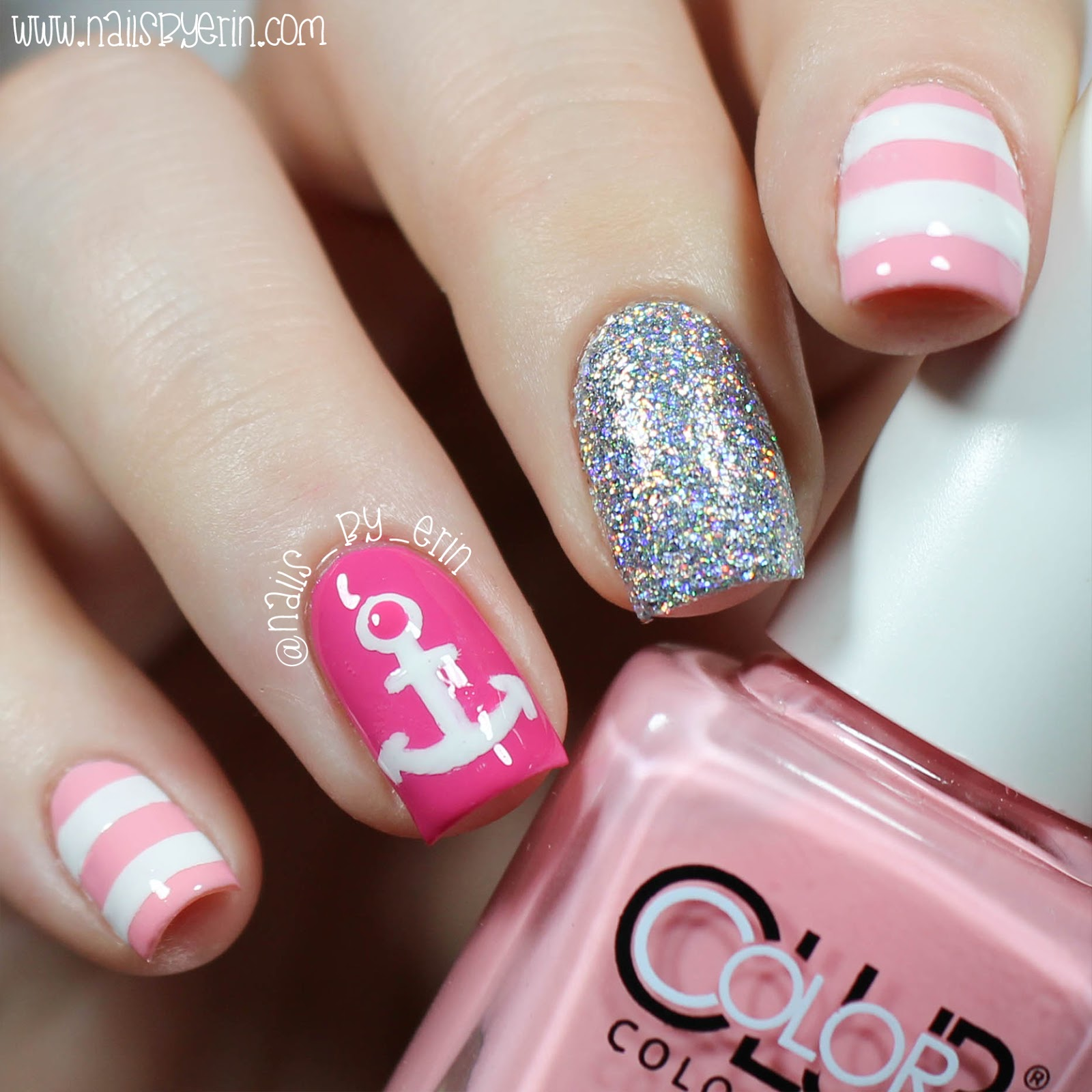 Nail Art Tutorial Nautical Nail Art Using Cuccio: NailsByErin: Pink Nautical Nails