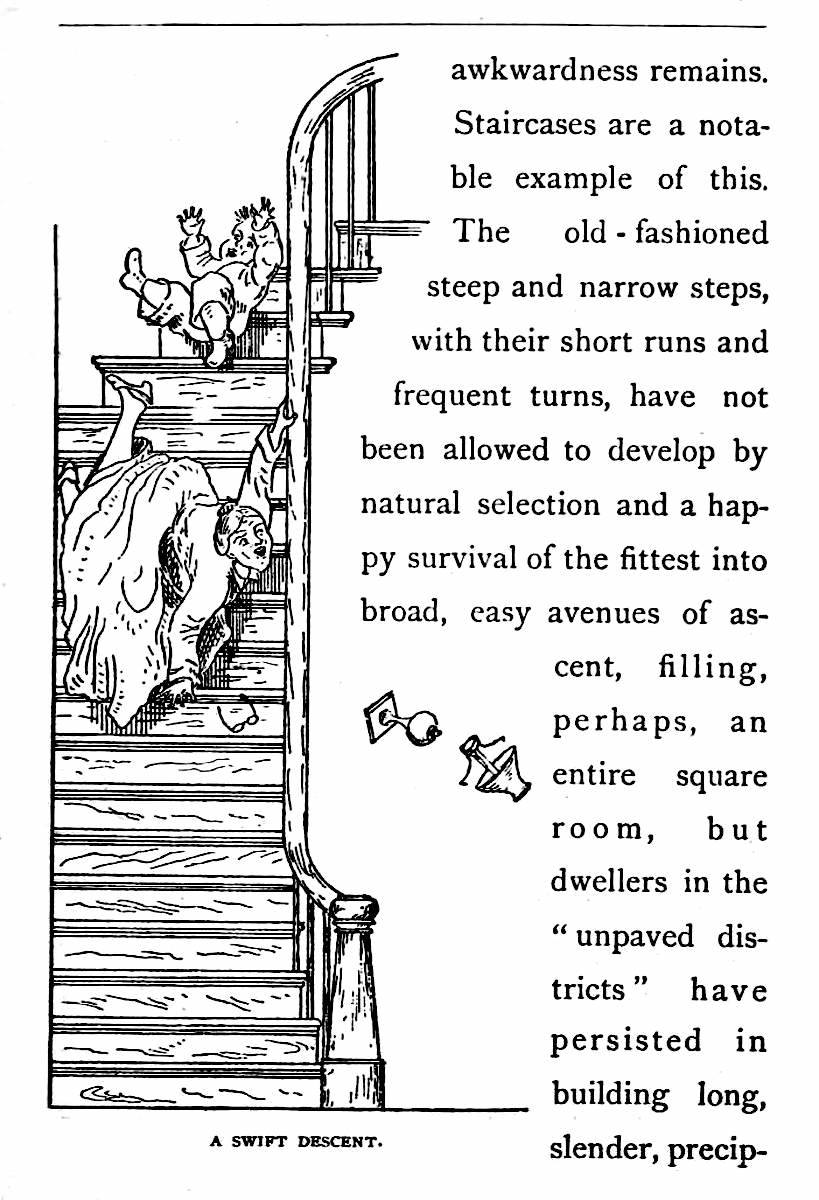 "an illustration of too-steep 1878 stairs in ""the unpaved districts"""