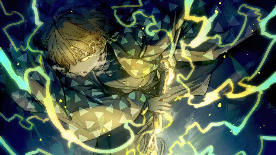 Zenitsu Agatsuma, Lightning, Breath of Thunder, Kimetsu no Yaiba, 4K, #7.1411