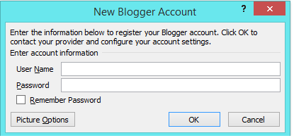 dialog new blogger account
