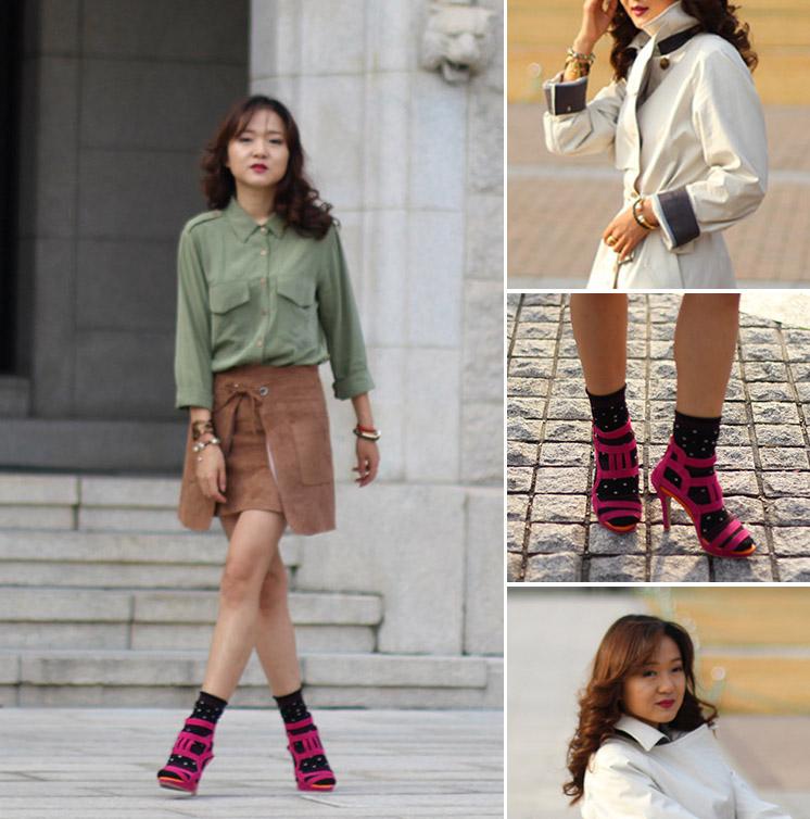 милитари стиль, мода, блогер в корее, корея, тренд, носки с туфлями, носки под туфли, вискозная юбка, вискоза, сочетание цветов, колорблок, аксессуары, Коре университет
