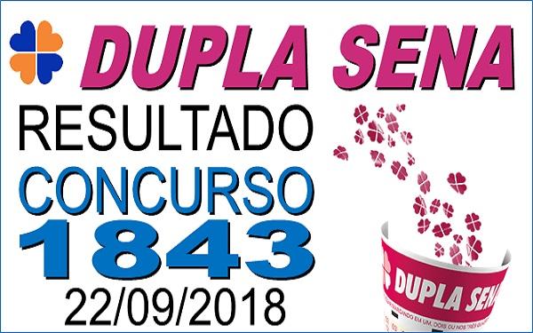 Resultado da Dupla Sena concurso 1843 de 22/09/2018 (Imagem: Informe Notícias)