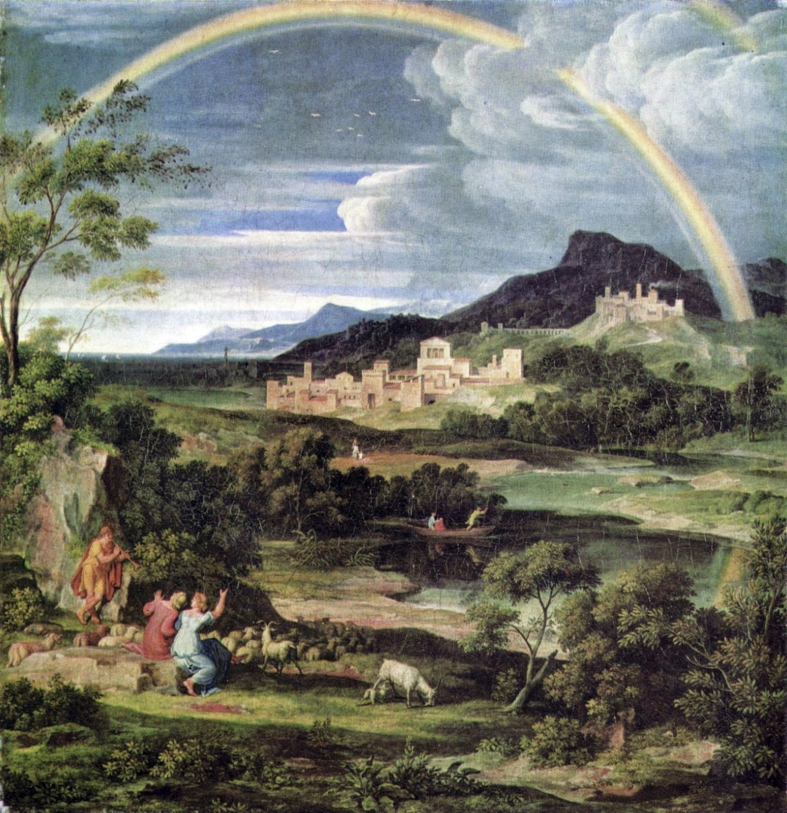 paesaggio eroico con arcobaleno