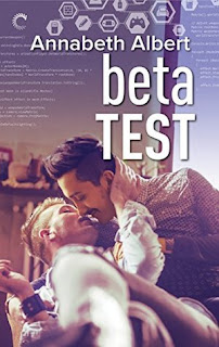 Cover of Beta Test. A dark-haired Desi man leans over to kiss a blonde white man, who has one hand raised to cup the Desi man's cheek.