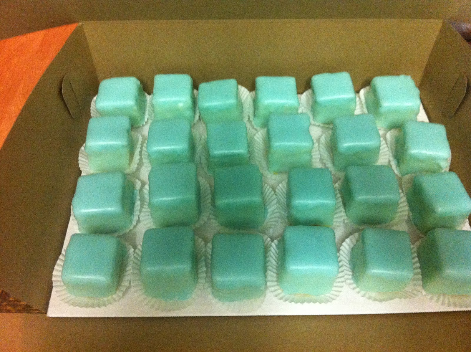 Cakes by Mindy  Tiffany Blue Petit Fours cde759a21