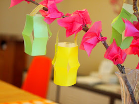 paper blossom tissue flowers for Chinese New Year Kids Craft