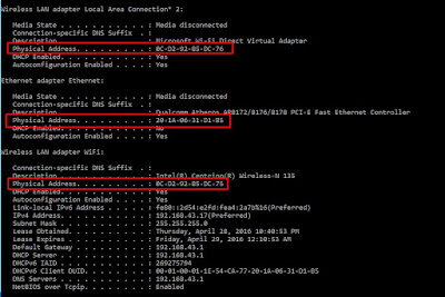 cara melihat mac address Menggunakan Command Prompt