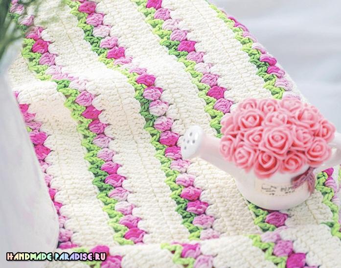 Узор «тюльпаны» для вязания крючком пледа (2)