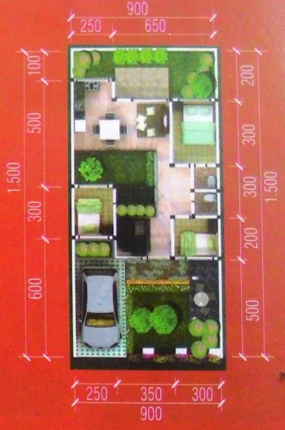 71+ Ide Denah Rumah Ada Taman Di Dalam Populer