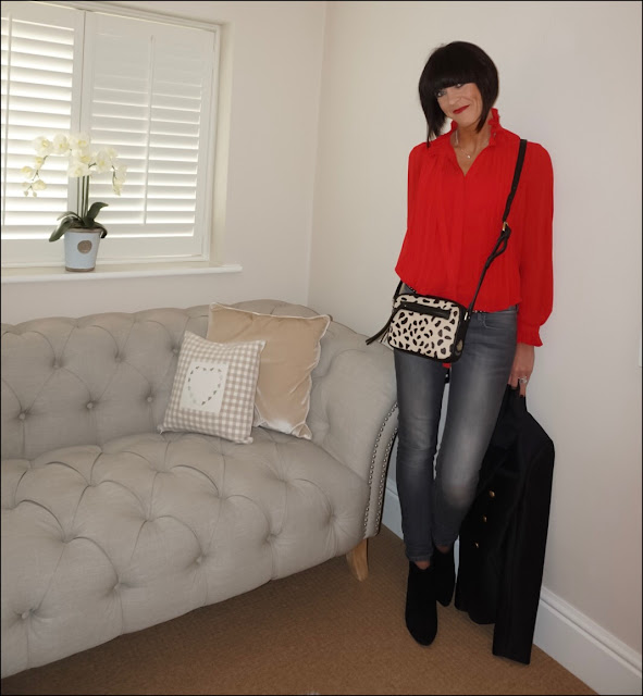 My Midlife Fashion, Marks and Spencer pleated notch neck blouse, village england chelmorton leopard print across body bag, Hanellei jenna jacket, mango block heel suede ankle boots, massimo dutti jeans