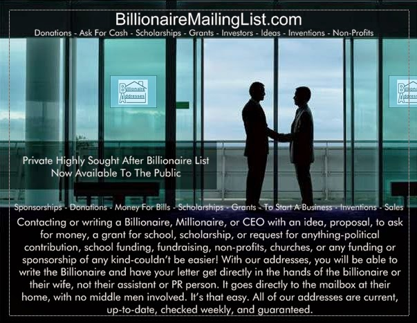 Use the trusted and true source of billionaires contact addresses