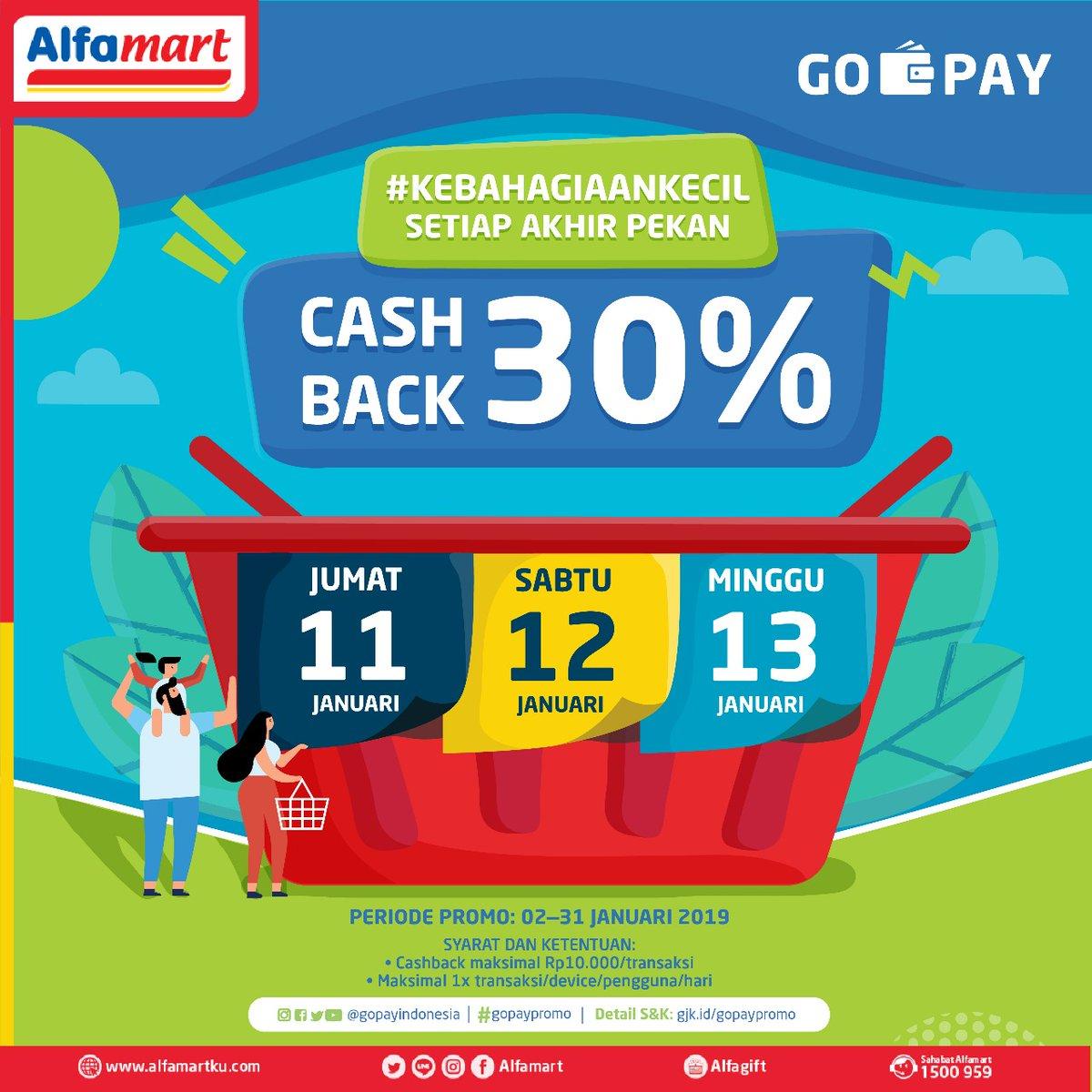 #Alfamart - #Promo #Cashback 30% Pakai #GOPAY Periode 11 - 13 Januari 2019