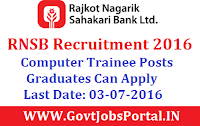 Rajkot Nagrik Sahakari Bank Recruitment 2016 for Computer Operator Trainee Posts Apply Online Here