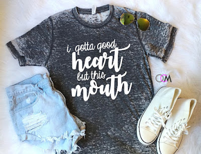 I gotta good heart but this mouth tee on Etsy